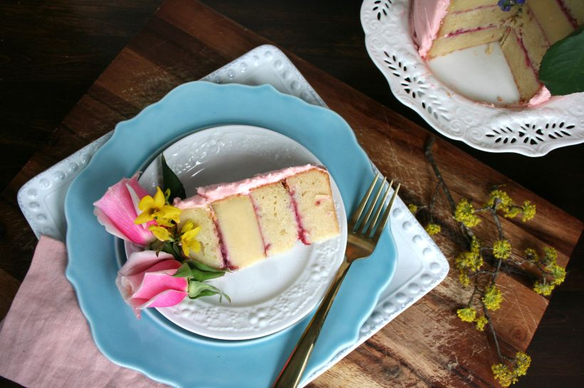 Lemon Raspberry Buttermilk Cake with cream cheese frosting - simple scratch recipe for Easter or birthdays