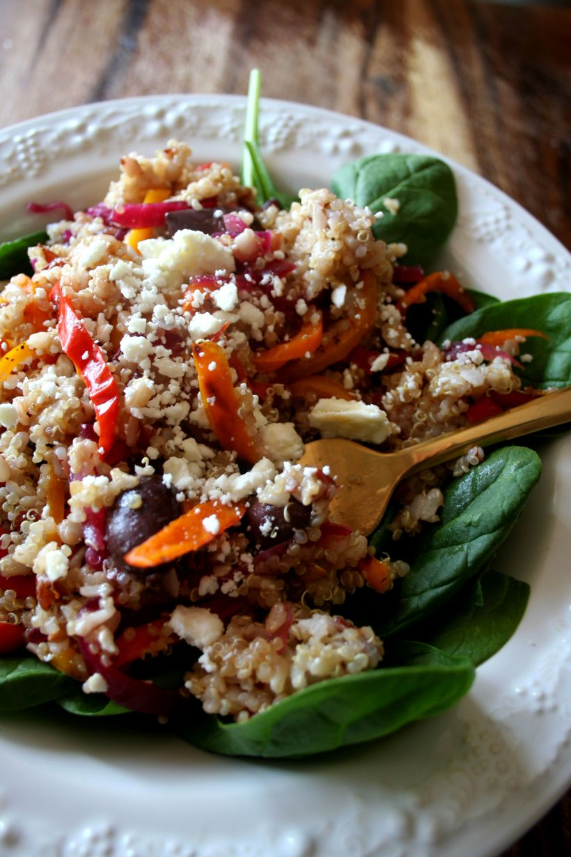 Greek Quinoa Salad with pickled onions and Kalamata olives