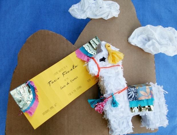 Mini Llama Pinata - tutorial shows you how to make it a party invitation you can send in the mail!